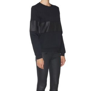 Lot 78 Leather and Cotton Sweatshirt in Black